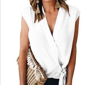 White V Shirt, blouse tied at side